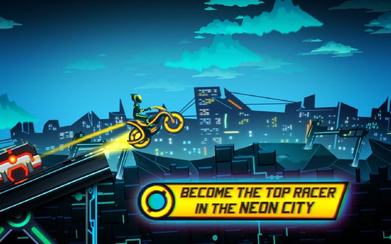 Bike Race Game Traffic Rider Of Neon City APK MOD imagen 3